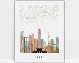 Seoul map print poster watercolor 1