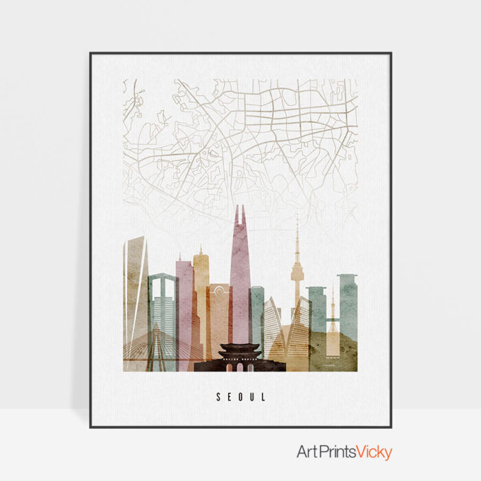 Seoul map print poster watercolor 1