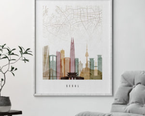 Seoul map print poster watercolor 1 second