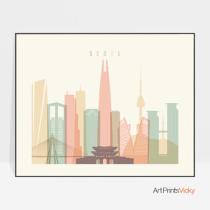 Seoul art print pastel cream landscape