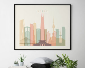 Seoul art print pastel cream landscape second