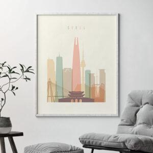 Seoul skyline print pastel cream second