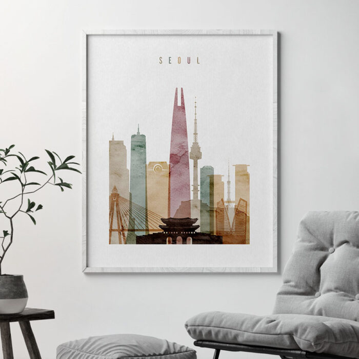 Seoul poster watercolor 1 second