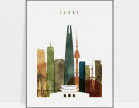 Seoul skyline poster watercolor 3