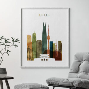 Seoul skyline poster watercolor 3 second