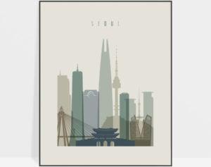 Seoul print skyline earth tones 1