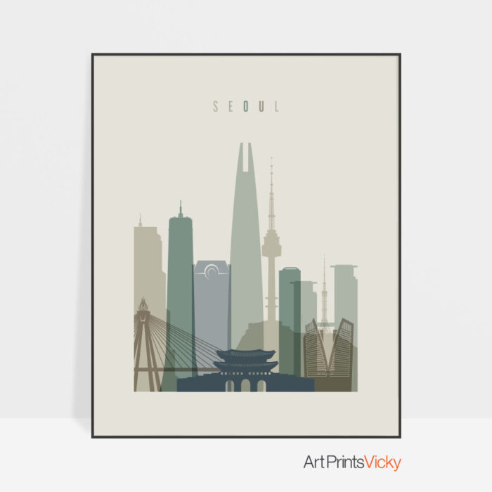 Seoul print skyline earth tones 1