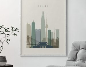 Seoul print skyline earth tones 1 second