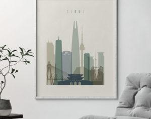 Seoul print skyline earth tones 1 second