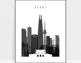 Seoul skyline black and white poster