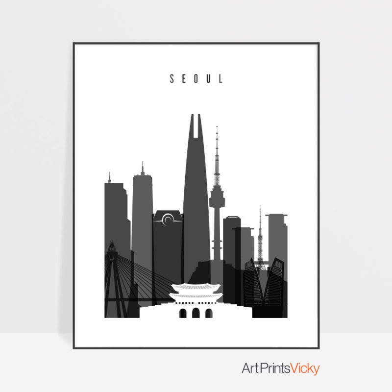 Seoul skyline black and white poster