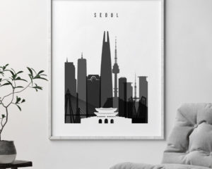 Seoul skyline black and white poster second