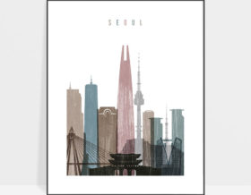 Seoul skyline poster distressed 1