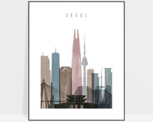 Seoul skyline poster distressed 1