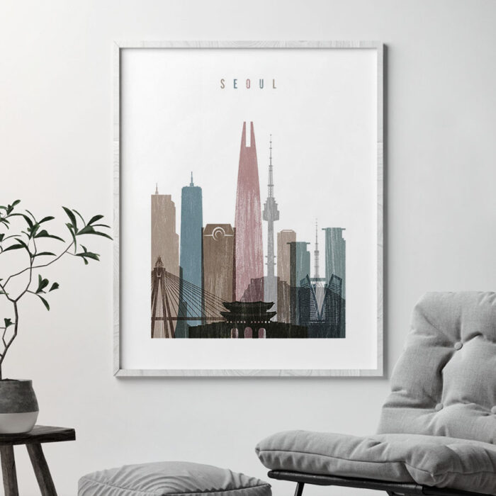 Seoul skyline poster distressed 1 second