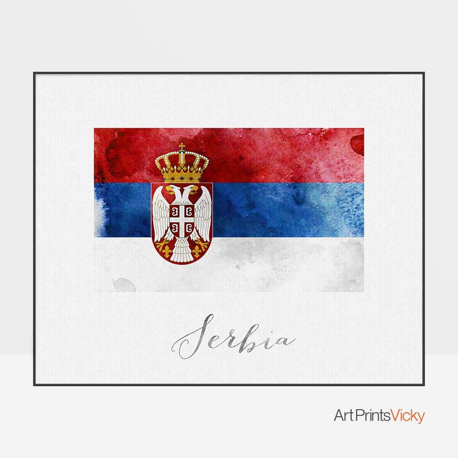 Serbia flag art print