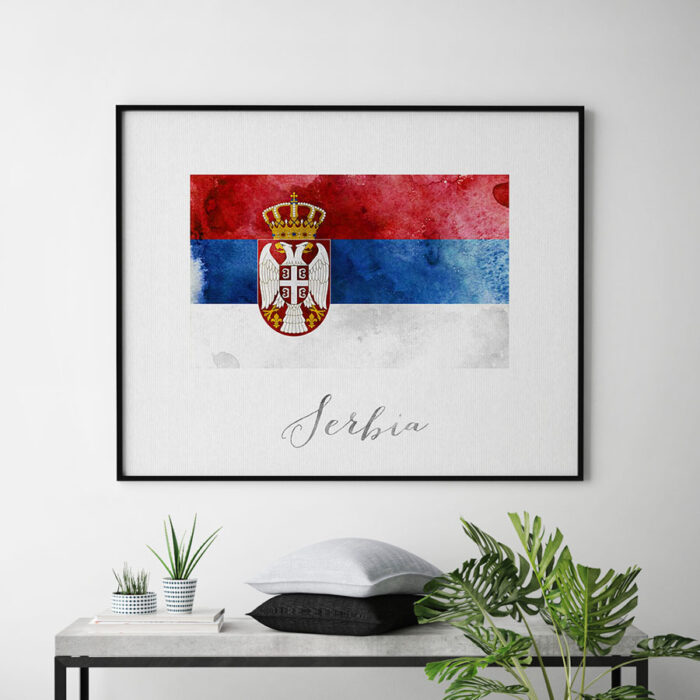 Serbia flag art print second
