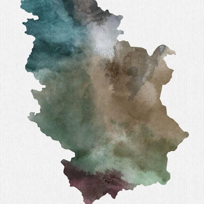 Serbia map print detail