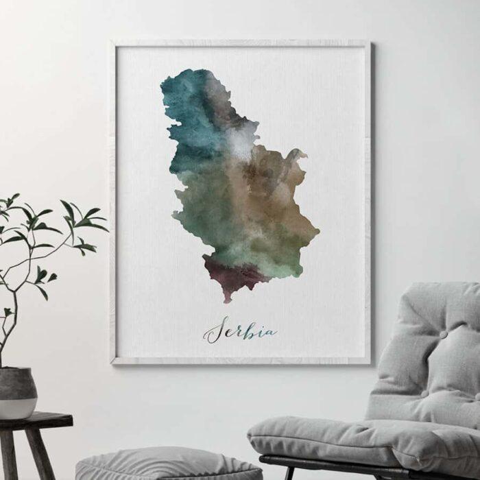 Serbia map print second
