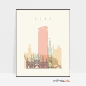 Seville art print skyline pastel cream