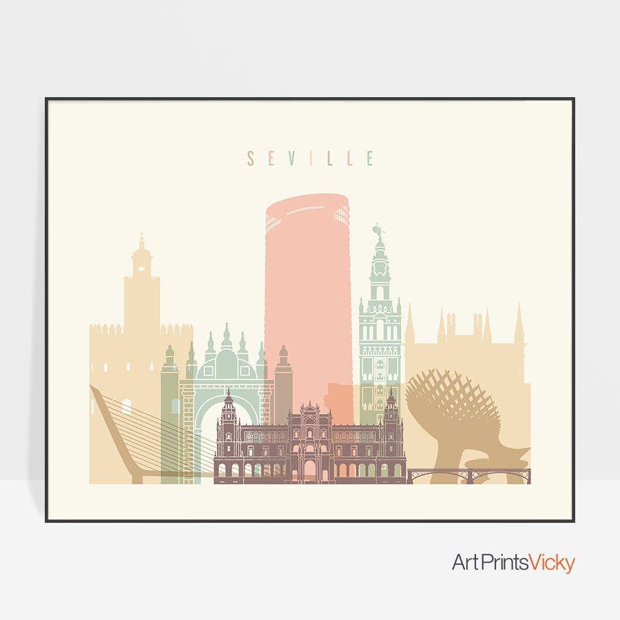 Seville poster skyline pastel cream landscape