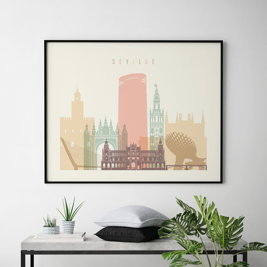 Seville poster skyline pastel cream landscape second