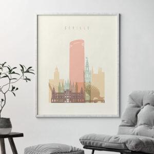 Seville art print skyline pastel cream second