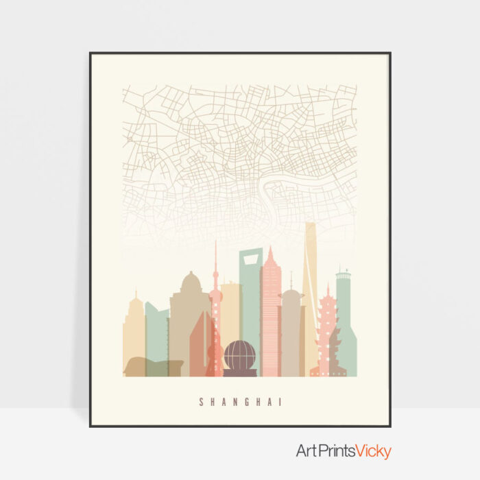 Shanghai map print poster pastel cream