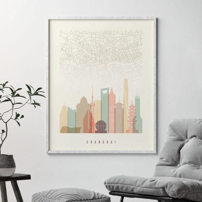 Shanghai map print poster pastel cream second