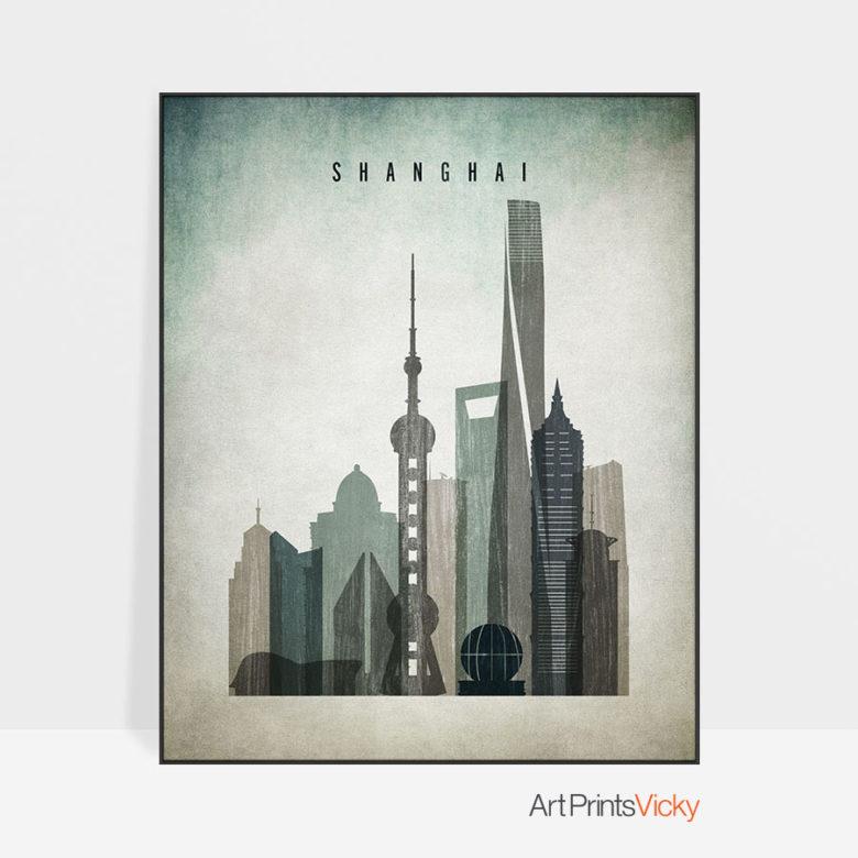 Shanghai poster distressed 3