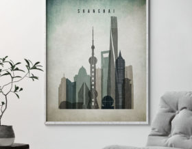 Shanghai poster distressed 3 second photo by ArtPrintsVicky