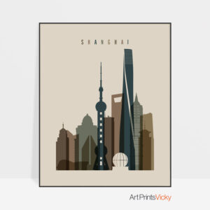 Shanghai art print earth tones 3