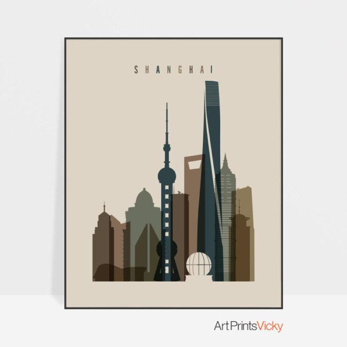 Shanghai art print earth tones 3
