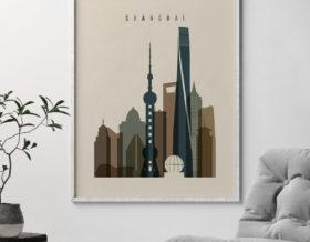 Shanghai art print earth tones 3 second