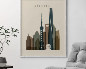 Shanghai art print earth tones 3 second