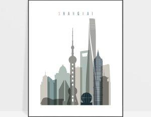 Shanghai art print skyline earth tones 4