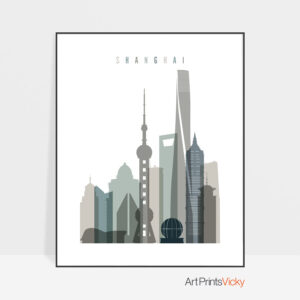 Shanghai art print skyline earth tones 4
