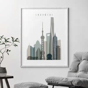 Shanghai art print skyline earth tones 4 second