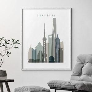 Shanghai art print skyline earth tones 4 second
