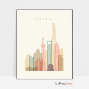 Shanghai art print skyline pastel cream