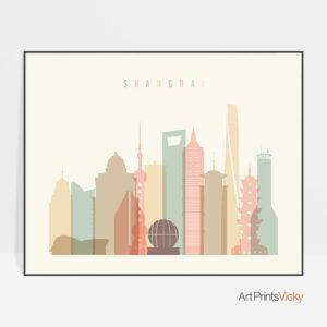 Shanghai art print pastel cream landscape