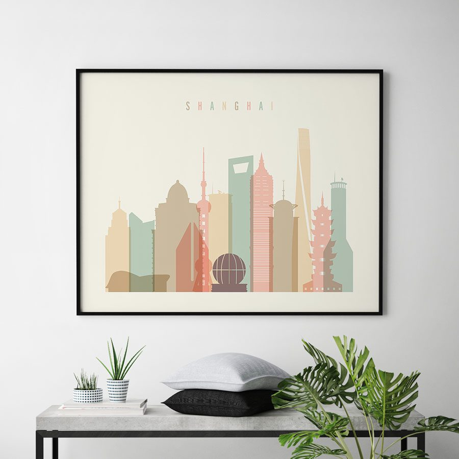 Shanghai art print pastel cream landscape second