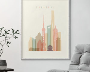 Shanghai art print skyline pastel cream second