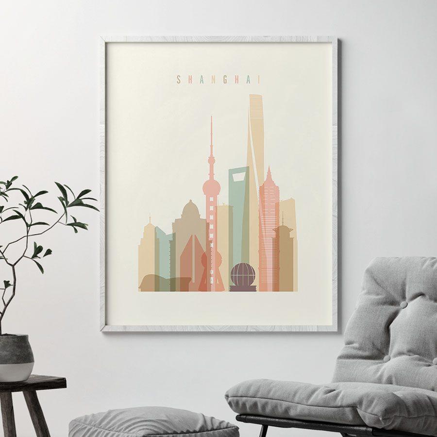 Shanghai art print skyline pastel cream second
