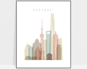Shanghai skyline wall art pastel white