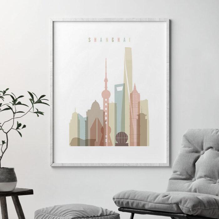 Shanghai skyline wall art pastel white second