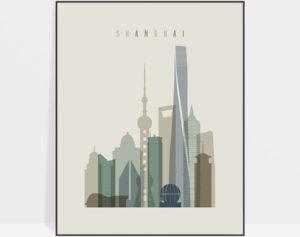 Shanghai print skyline earth tones 1