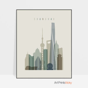 Shanghai print skyline earth tones 1