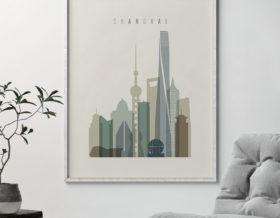 Shanghai print skyline earth tones 1 second