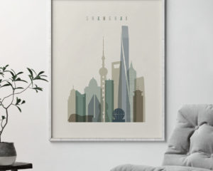 Shanghai print skyline earth tones 1 second